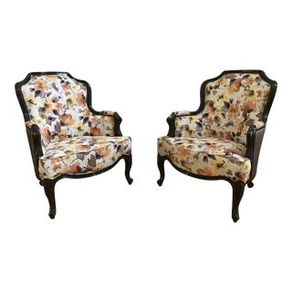 Neoclassical Spring/Autumn Floral Reading Chairs - A Pair
