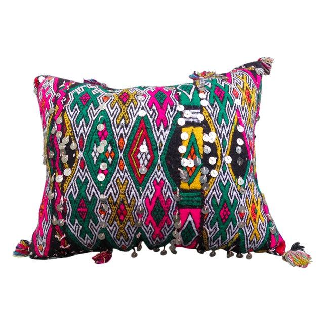 Moroccan Pink & Green Berber Kilim Pillow - Image 1 of 4