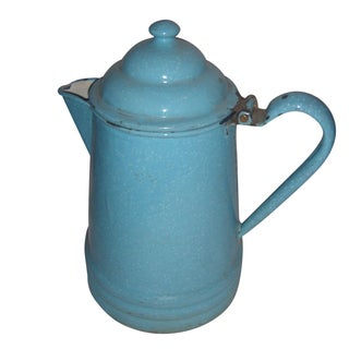 Rustic Country Blue Enamel Pitcher