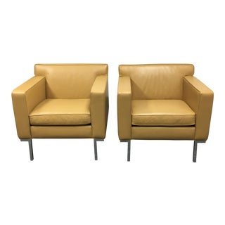 Ted Boerner Design Within Reach Leather Theatre Chairs- A Pair