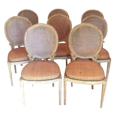 Faux Bois Dining Chairs - Set of 8 - Image 1 of 6