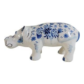 Circa 1910 French Blue & White Hippopotamus Figure