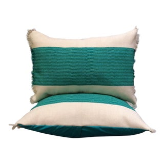 Turquoise Mexican Textile Pillows - A Pair
