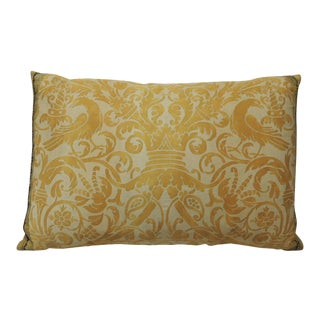 Vintage Yellow Fortuny Uccelli Bolster Accent Pillow