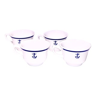 Anchors Away Homer Laughlin Navy Mugs - Set of 4