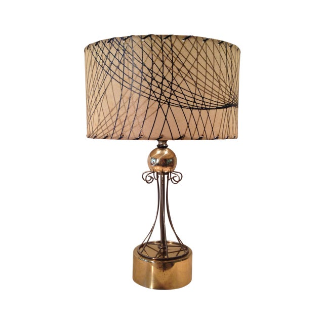 Atomic Era Brass Table Lamp - Image 1 of 6