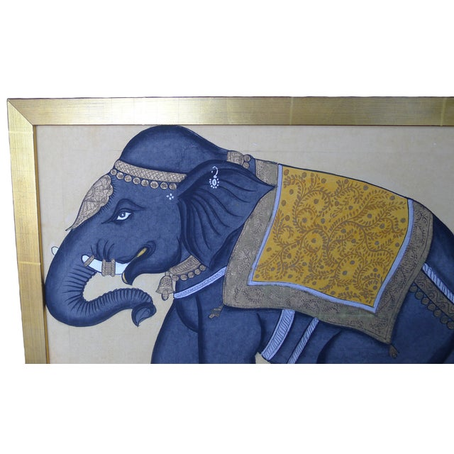 Framed Indian Elephant Painting - Image 3 of 4