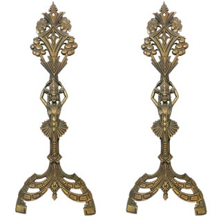 Universal Electric Art Deco Egyptian Revival Fireplace Andirons- A Pair