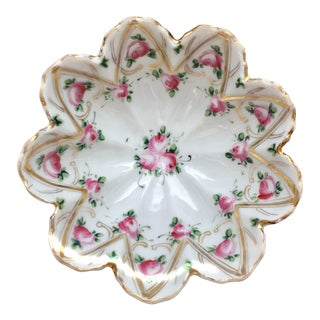 Nippon Porcelain Footed Candy Dish Hand-Painted With Roses