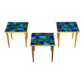 1960 Georges Briard Mosaic Top Side Tables - Set of 3
