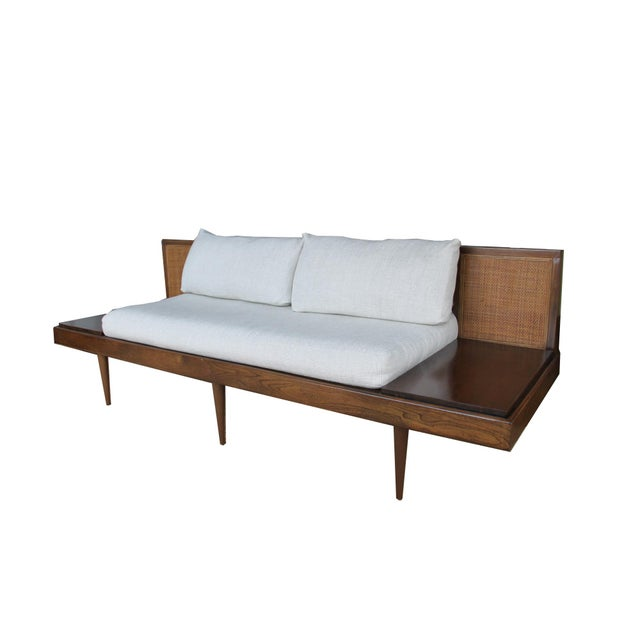 Mid century sofa with attached end tables chairish for Sectional sofa with table attached