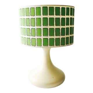 Mid Century Off White Table Lamp & Green Shade