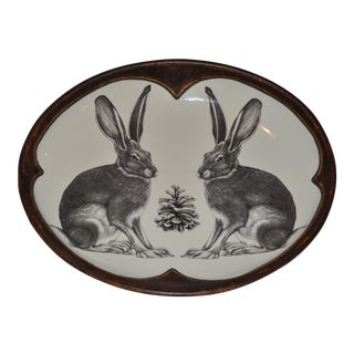 Small Serving Dish With a Sitting Hare by Laura Zindel