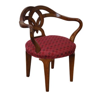 Vintage Italian Walnut Vanity Arm Chair