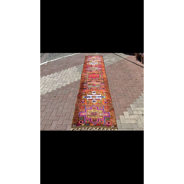 Vintage Hand Knotted Turkish Runner - 2′11″ × 14′5″ - Image 3 of 7