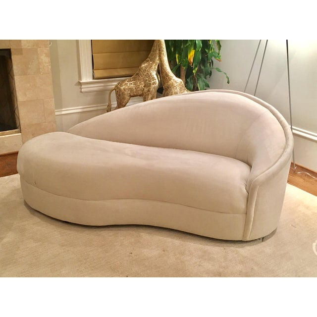 Modern White Suede Sofa Chaises - a Pair - Image 5 of 10