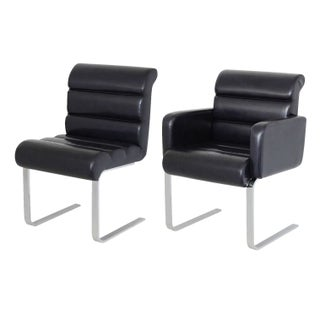 Pace Collection Leather Chrome Dining Chairs - S/8