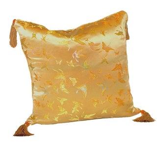 Gold Butterfly Silk Brocade 16x16 Pillow