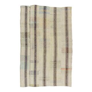 Vintage Modern Striped Turkish Kilim Rug - 5′6″ × 8′6″