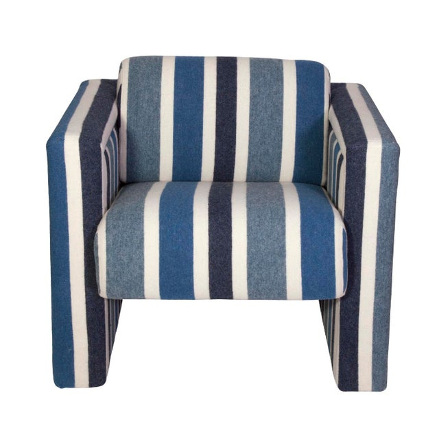 Nautical Club Chairs in Blue and White Wool - A Pair - Image 2 of 5