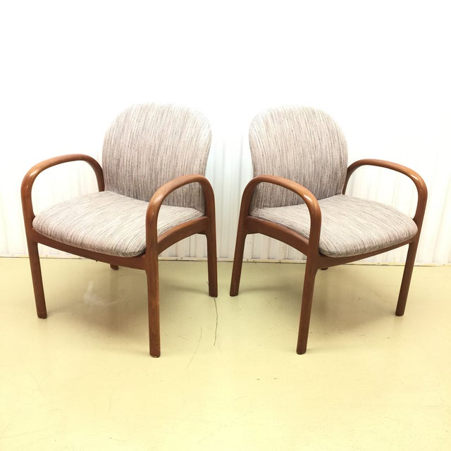Mid-Century Gunlocke Walnut Chairs - A Pair - Image 2 of 11