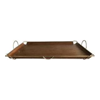 Mid Century Wood and Brass Tray
