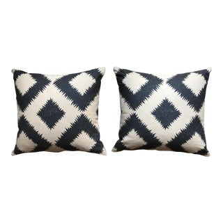 Schumacher Diamond Black & Beige Pillows - A Pair