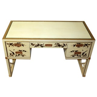 Vintage Chinoiserie Leather-Top Desk by Sligh