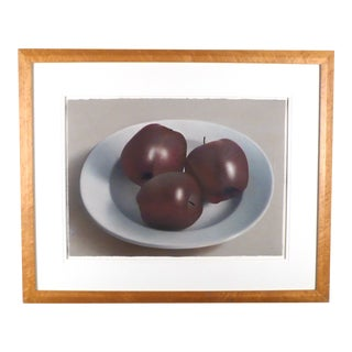 Three Red Apples on a Porcelain Bowl by Robert Peterson