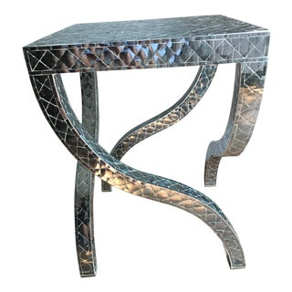 Contemporary Style Mirrored Tile Table