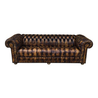 English Fully Tufted Chesterfield Long Sofa