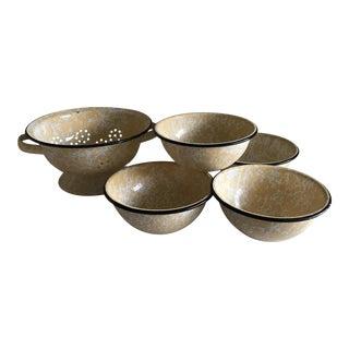 Rustic Enamel Colander & Bowls - Set of 5