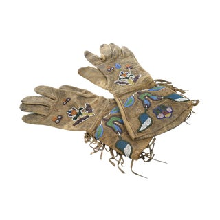 Antique Native American Leather & Beads Gloves