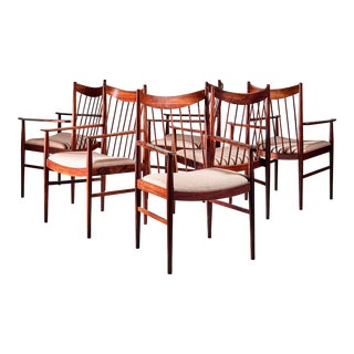 Arne Vodder set of 6 highback armchairs in rosewood, Denmark, 1960s