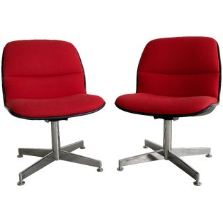 Mid-Century Upholstered Chrome Chairs - A Pair