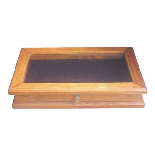 Vintage Tabletop Glass and Oak Vintrine Box
