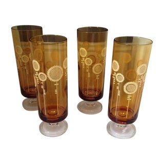 Retro Sunflower Drinking Glasses - Set of 4