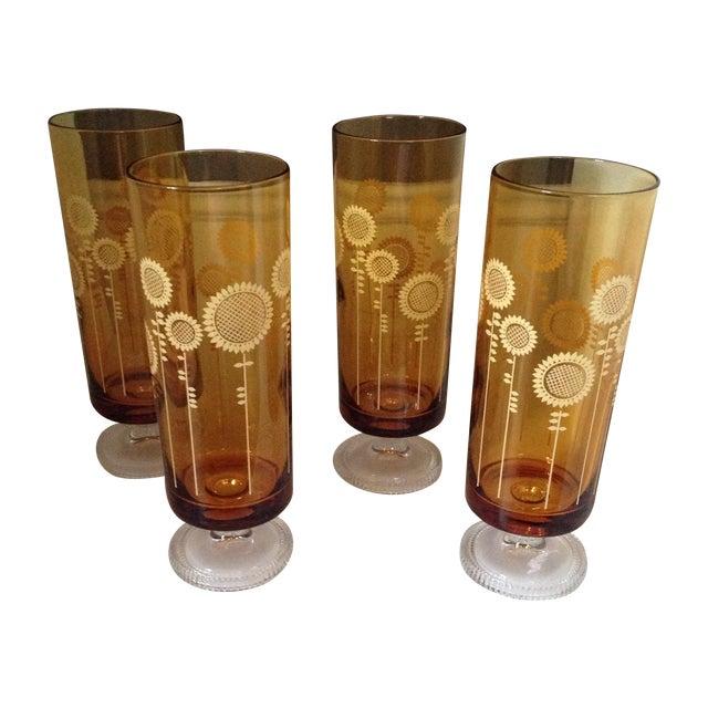 Image of Retro Sunflower Drinking Glasses - Set of 4