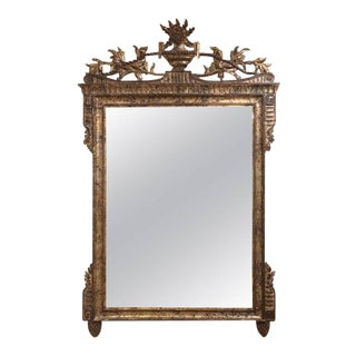 Neoclassical Carved Silver Giltwood Mirror