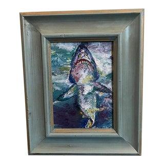 "Original ""Shark"" Oil Painting 5""x7"" Signed by Artist Nancy T. Van Ness"