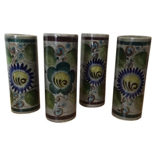 Mexican Painted Ceramic Cups - Set of 4