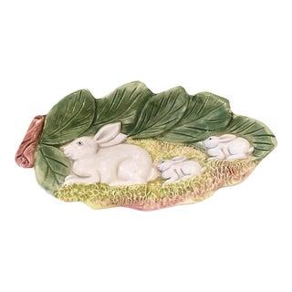 Hand Painted Majolica Italian Bunny Dish