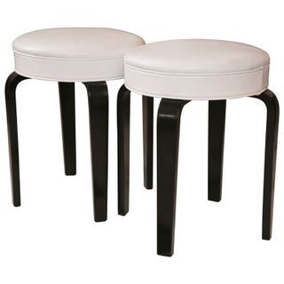 Mid-Century White Leather Stools - A Pair