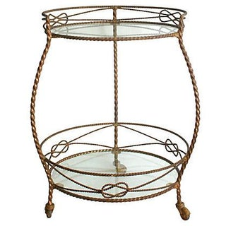 1950s Gilt Metal Tea Cart