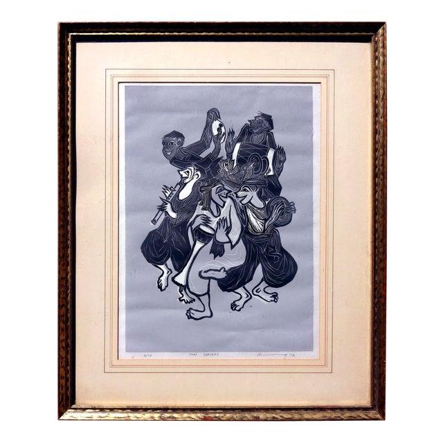 Linocut Block Print - Thai Dancers 1974 - Image 1 of 5