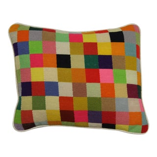 Needlepoint Multi-Patch Block Pillow