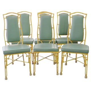 Green & Gold Faux Bamboo Chairs - Set of 6