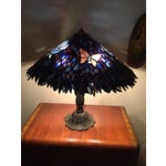 Image of Artist Signed Butterfly Lotus Stained Glass Lamp