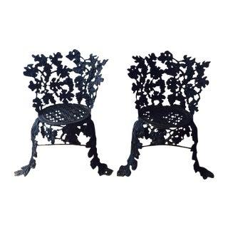 Iron Grape Vine Garden Patio Chairs - A Pair
