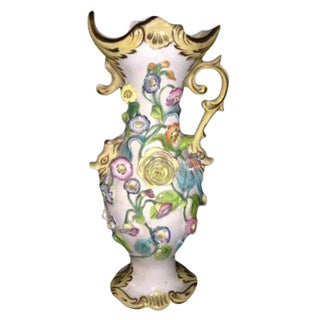 Antique Pastel Floral Porcelain Vase